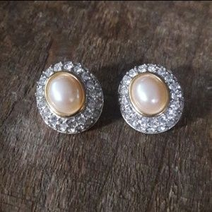 Beautiful Swarovski Pearl/Pave Earrings*VINTAGE*